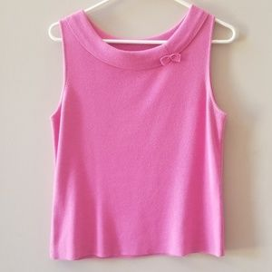 Pink knit sweater tank w bow detail large